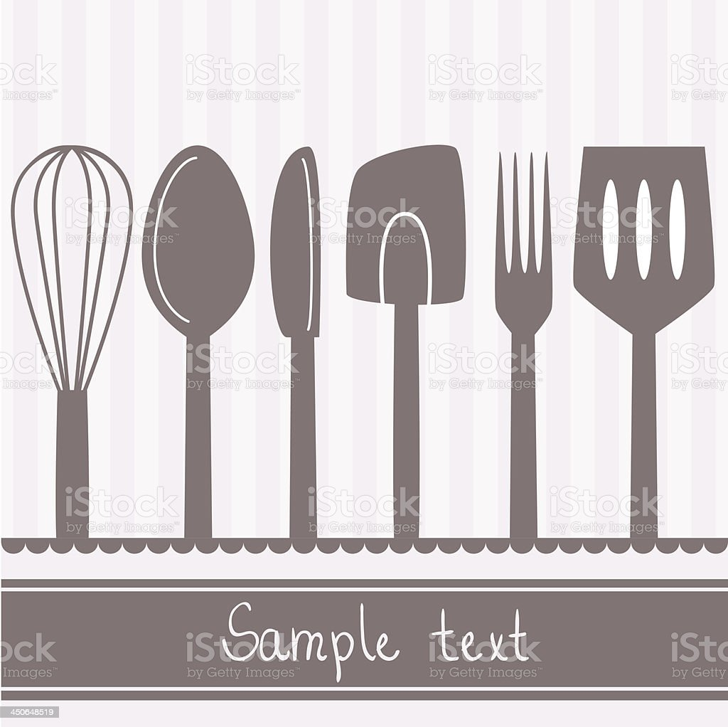 Kitchen utensils vector art illustration