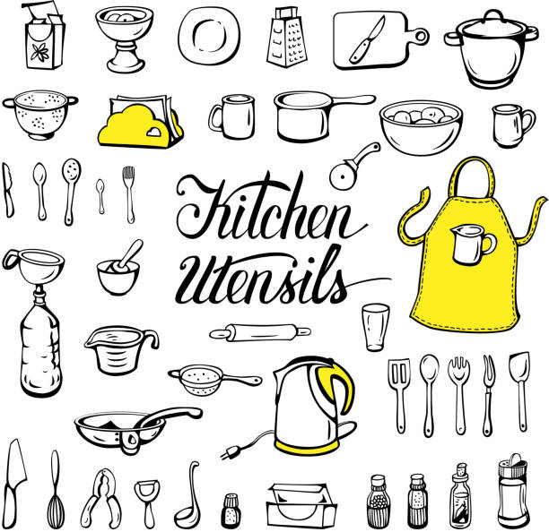 Kitchen utensils Kitchen utensils, isolated on a white background. Sketch ink. Vector illustration. grater utensil stock illustrations