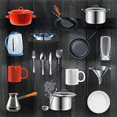 Kitchen utensils, vector set on black wooden background