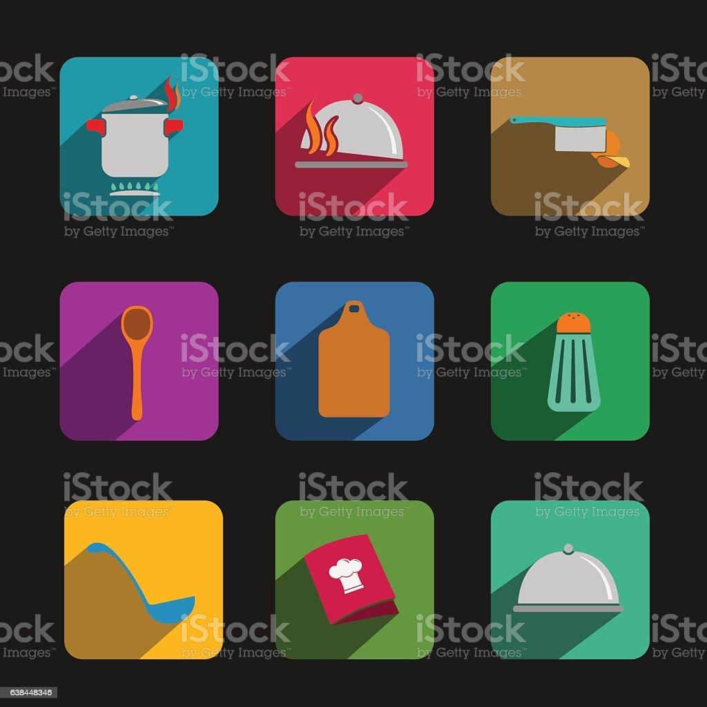 Kitchen vector icons set vector art illustration