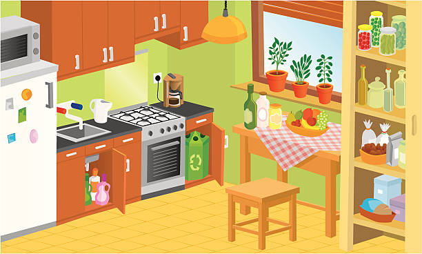 Royalty free kitchen trash can clip art vector images illustrations istock - Kitchen picture ...