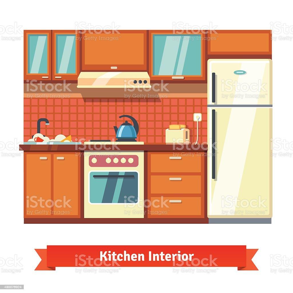 Küche Wand Innen Stock Vektor Art und mehr Bilder von Ausrüstung und ...
