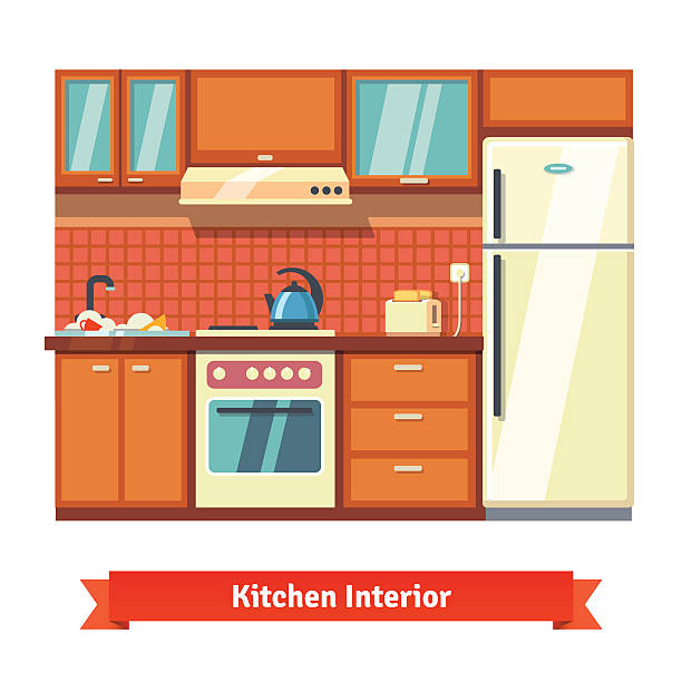 Kitchen Wall Clip Art: Best Dirty Fridge Illustrations, Royalty-Free Vector