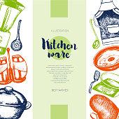 Kitchen Ware - color drawn vintage banner template.