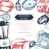 Kitchen Ware - color vintage postcard template.