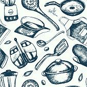 Kitchen Ware - hand drawn seamless pattern