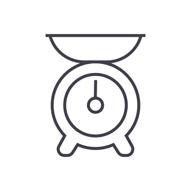 küche gewicht vektor liniensymbol, zeichen, illustration auf hintergrund, editierbare striche - portion stock-grafiken, -clipart, -cartoons und -symbole