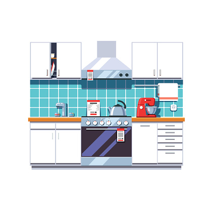 Kitchen with cabinets shelves, oven, cooker hood