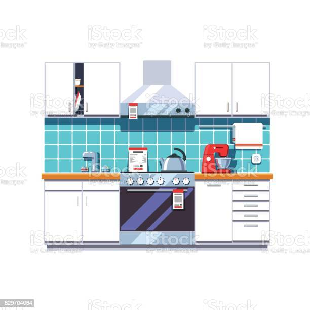 Kitchen with cabinets shelves oven cooker hood vector id829704084?b=1&k=6&m=829704084&s=612x612&h=pnxuhr0hzysn gs7zx8k9s6wqwzt8fuwrh4resmx m4=