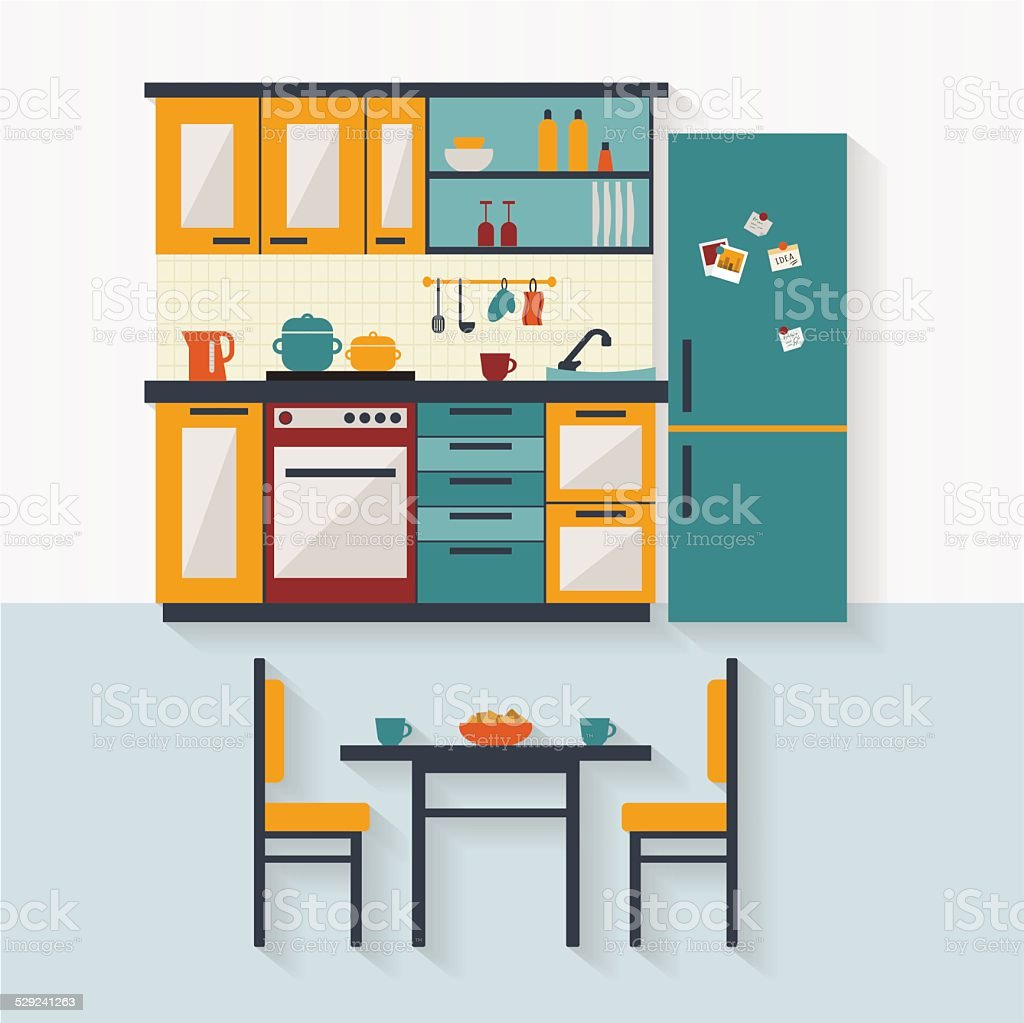 Kitchen with furniture flat illustration vector art illustration