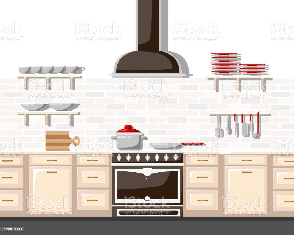 Ilustración de Cocina Con Ilustración De Vector De Estilo Plano De ...