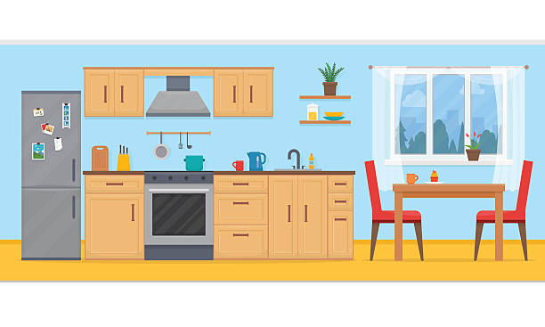 Kitchen with furniture set. Kitchen with furniture set. Cozy kitchen interior with table, cupboard and dishes. Flat style vector illustration. kitchen stock illustrations