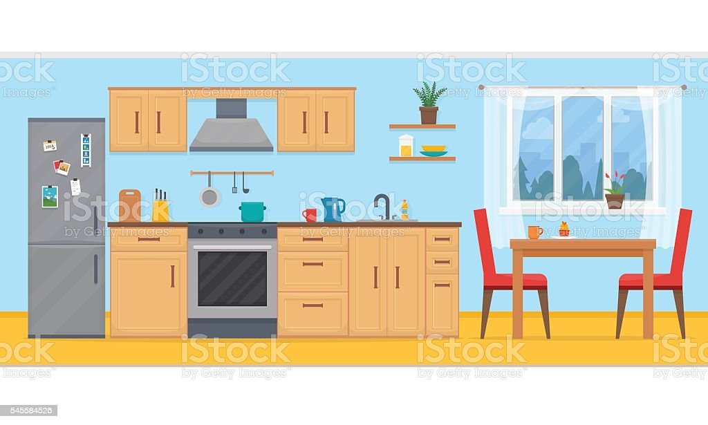 Kitchen With Furniture Set. Vector Art Illustration