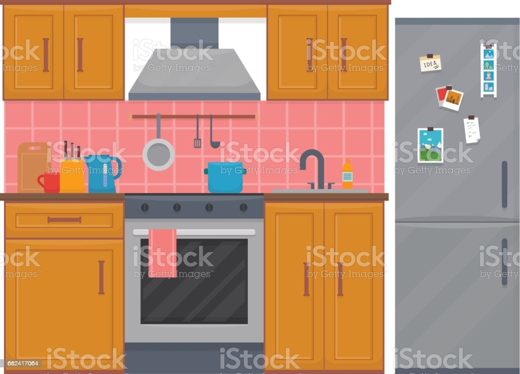 Kitchen with furniture set. royalty-free kitchen with furniture set stock vector art & more images of apartment