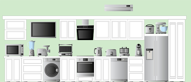 Kitchen with household appliances for the kitchen