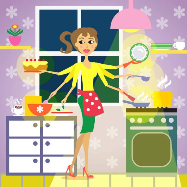 ilustraciones, imágenes clip art, dibujos animados e iconos de stock de cocina de la cocina de la mujer - busy restaurant kitchen