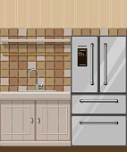 Kitchen_element_with_fridge_and_sink