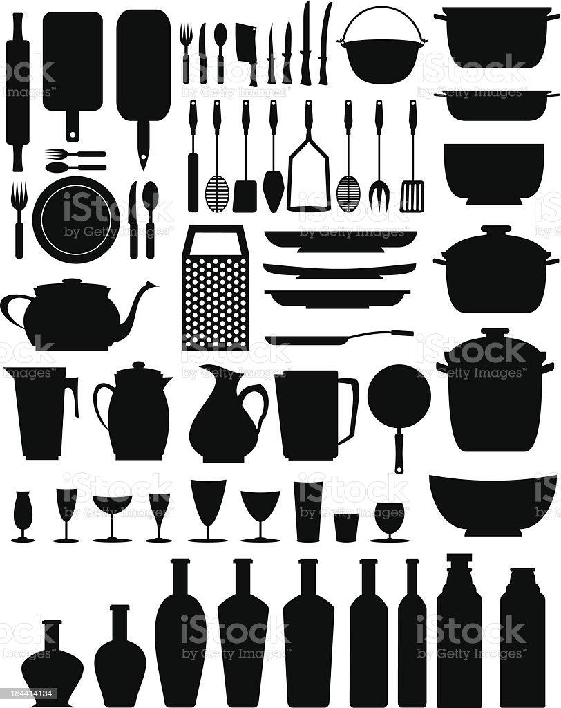kitchen/restaurant elements (black) vector art illustration