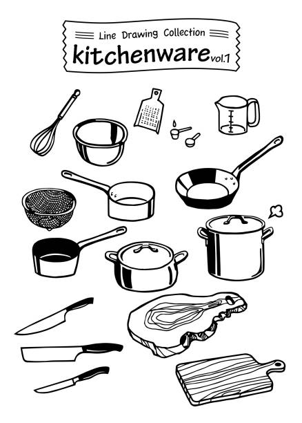 kitchenware 1 -line drawing collection- - mixing bowl stock illustrations, clip art, cartoons, & icons