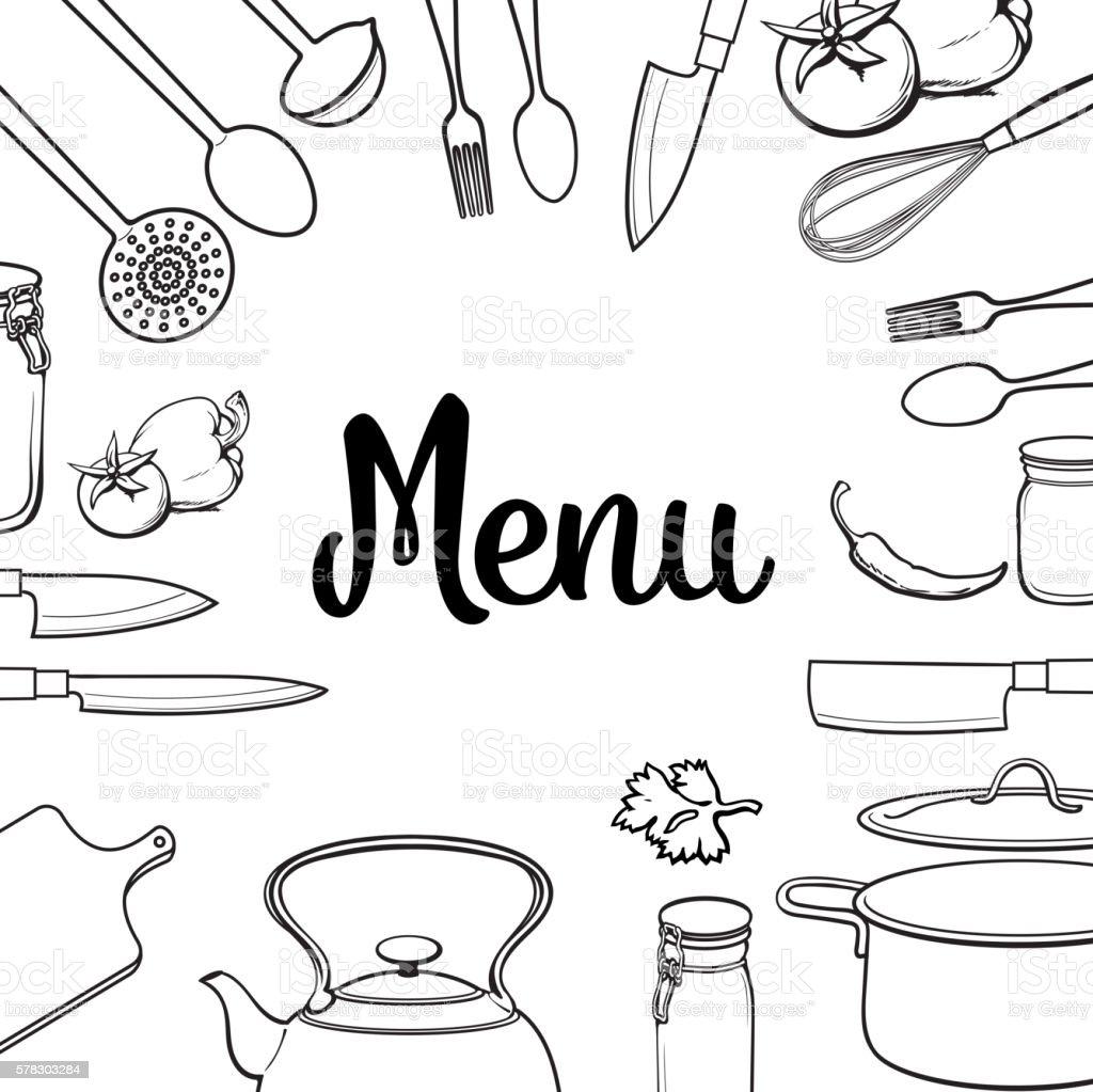Kitchenware and cutlery menu design isolated vector illustration vector art illustration