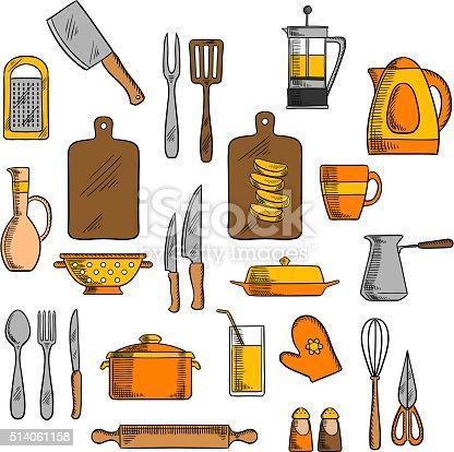 Ilustraci n de iconos utensilios cocina y utensilios de for Utensilios de cocina divertidos