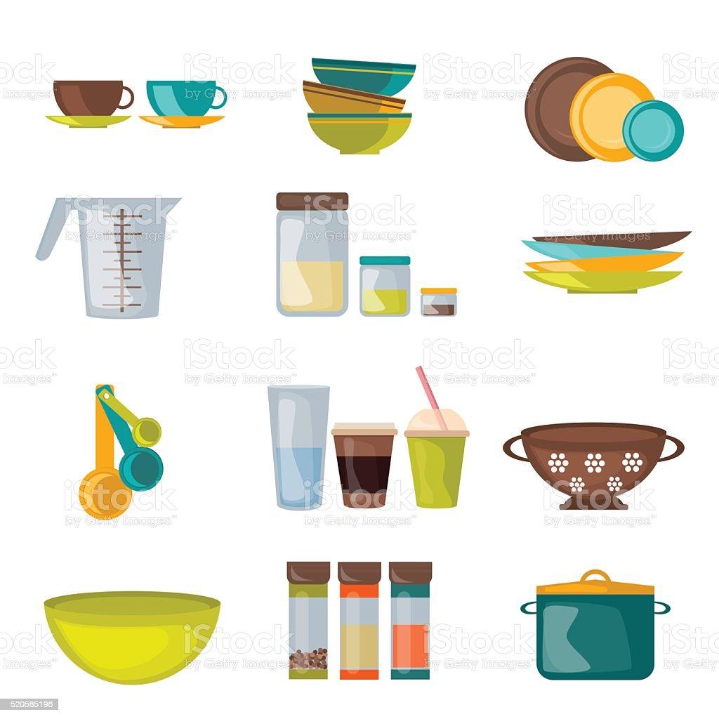 Utensílio de vetor plana e utensílios de cozinha e - ilustração de arte em vetor
