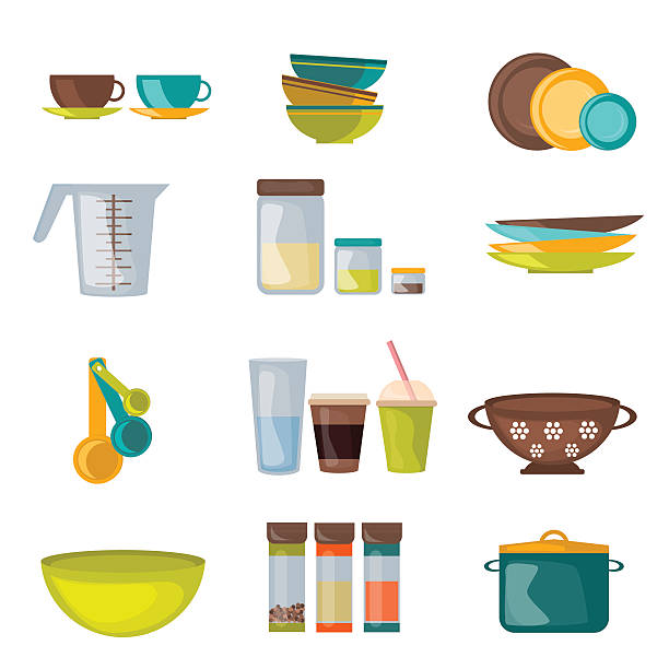 Kitchenware and utensil flat vector Kitchenware and utensil flat vector. Kitchen cook equipment and kitchenware chef design. Kitchen utensils, home kitchen appliances and restaurant kitchen tools.  Household cuisine interior housewares. container stock illustrations