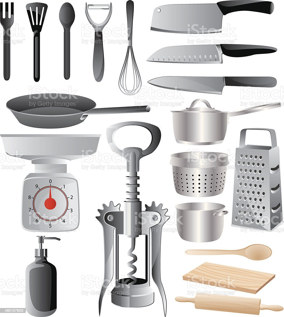 Kitchenware and Utensils vector art illustration