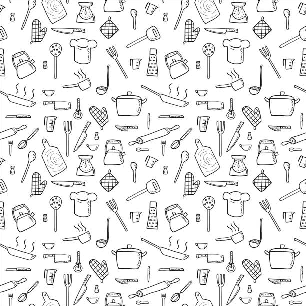 Kitchenware background Cooking utensils and kitchen tools - seamless background doodle vector. cooking drawings stock illustrations