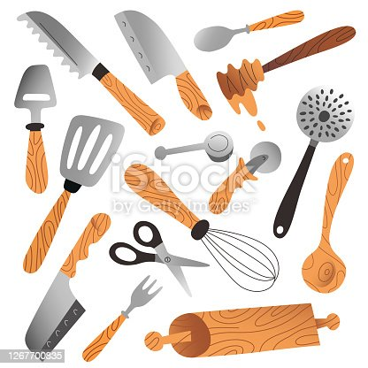 Kitchenware collection, isolated vector illustrations, cutlery, skimmers and knives, household tools and utensils for food preparation, hand drawn vector isolated cartoon illustration, modern cliparts