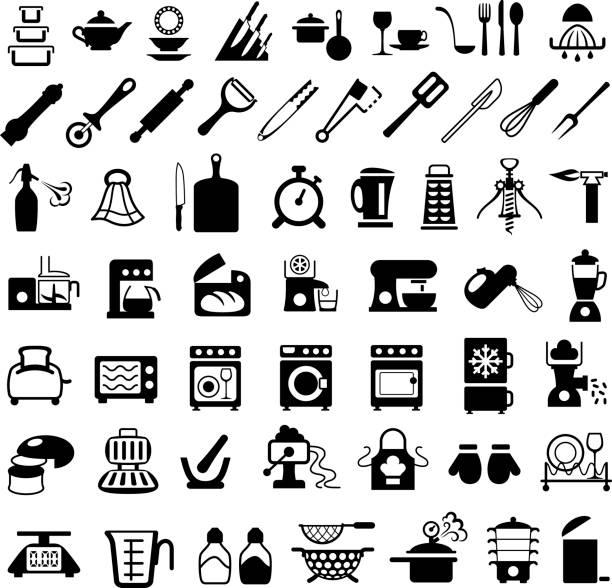 geschirr, kochutensilien und geräte symbole - küchenmixer stock-grafiken, -clipart, -cartoons und -symbole