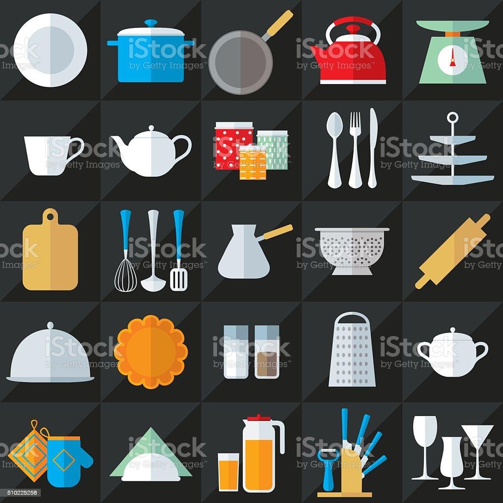 Kitchenware flat icons vector set vector art illustration