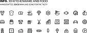 Kitchenware, foods mini line, illustrations, icons
