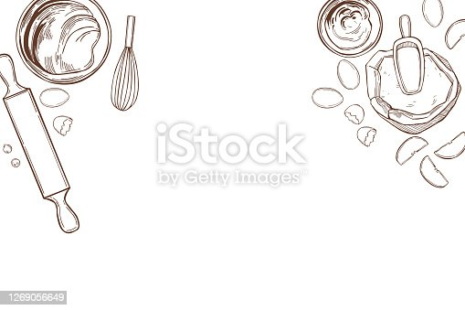 Kitchenware  for baking pies . Vector background.