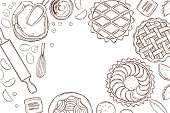 Hand drawn kitchenware  for baking pies. Vector background.