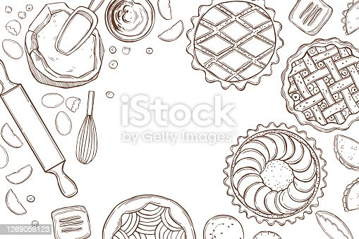 Kitchenware  for baking pies.  Vector  illustration.