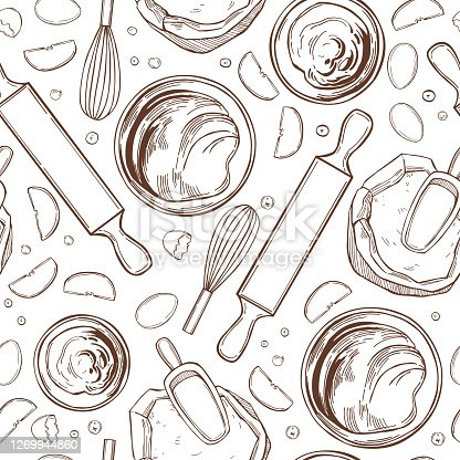 Kitchenware  for baking pies.  Vector  pattern.