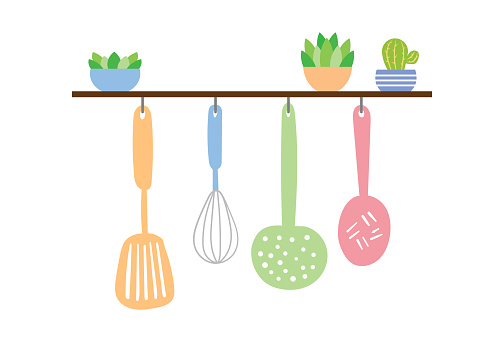 Kitchenware hanging on the wall