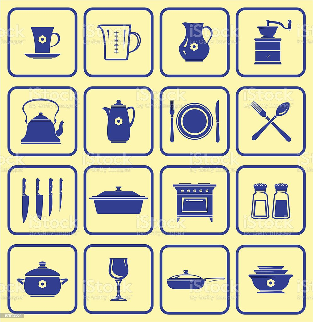 Kitchenware Icon Set royalty-free kitchenware icon set stock vector art & more images of appliance