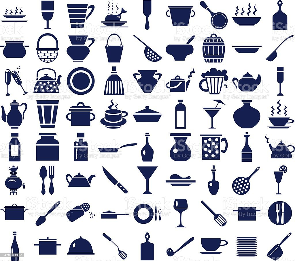 kitchenware icons on a white vector art illustration