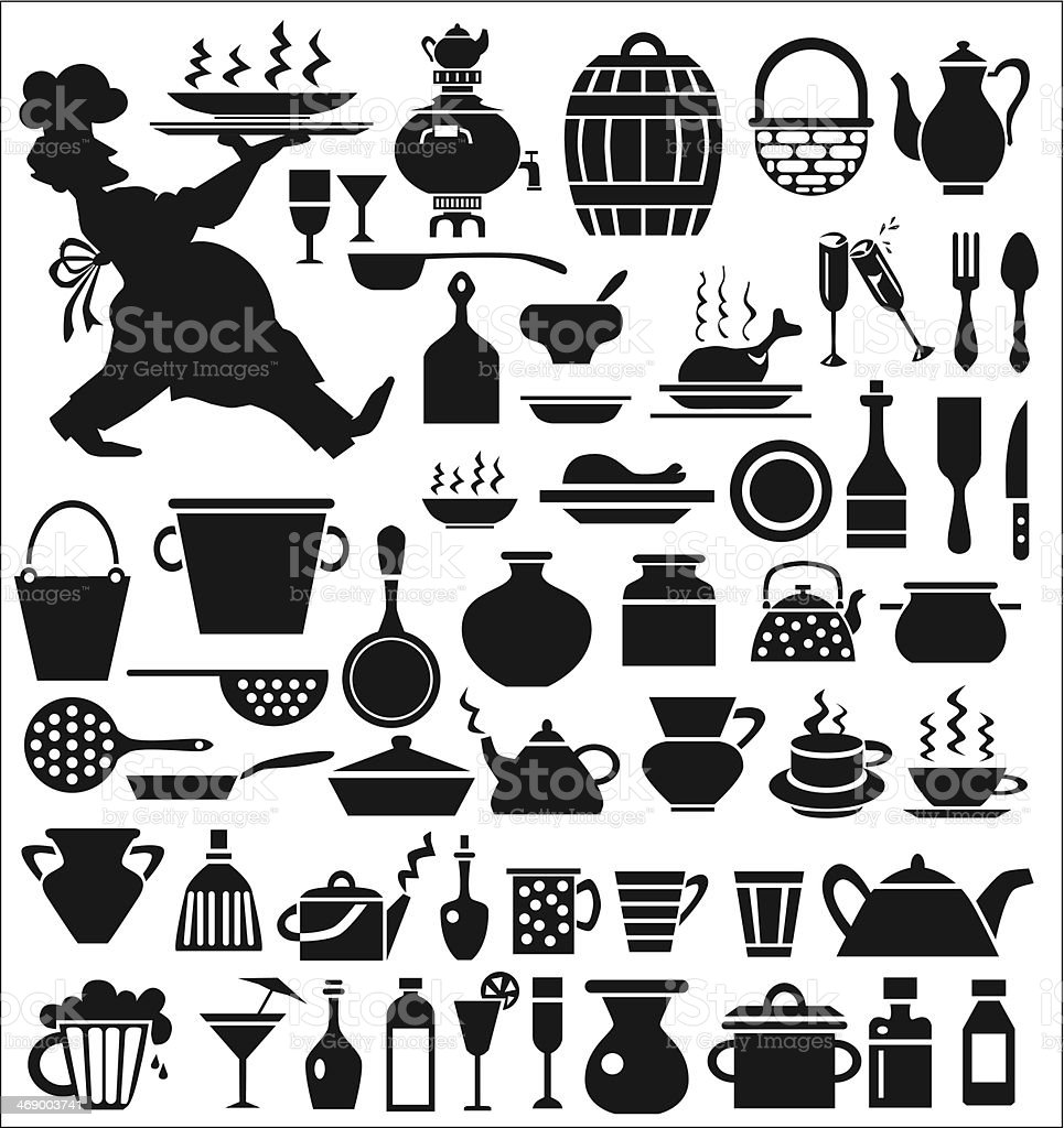 kitchenware icons vector art illustration