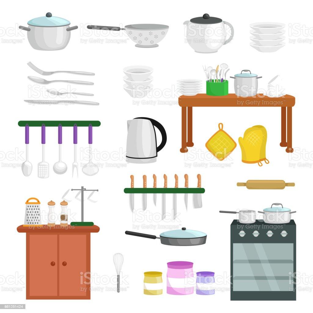 Los iconos de utensilios de cocina vector conjunto dibujos for Enseres para cocina