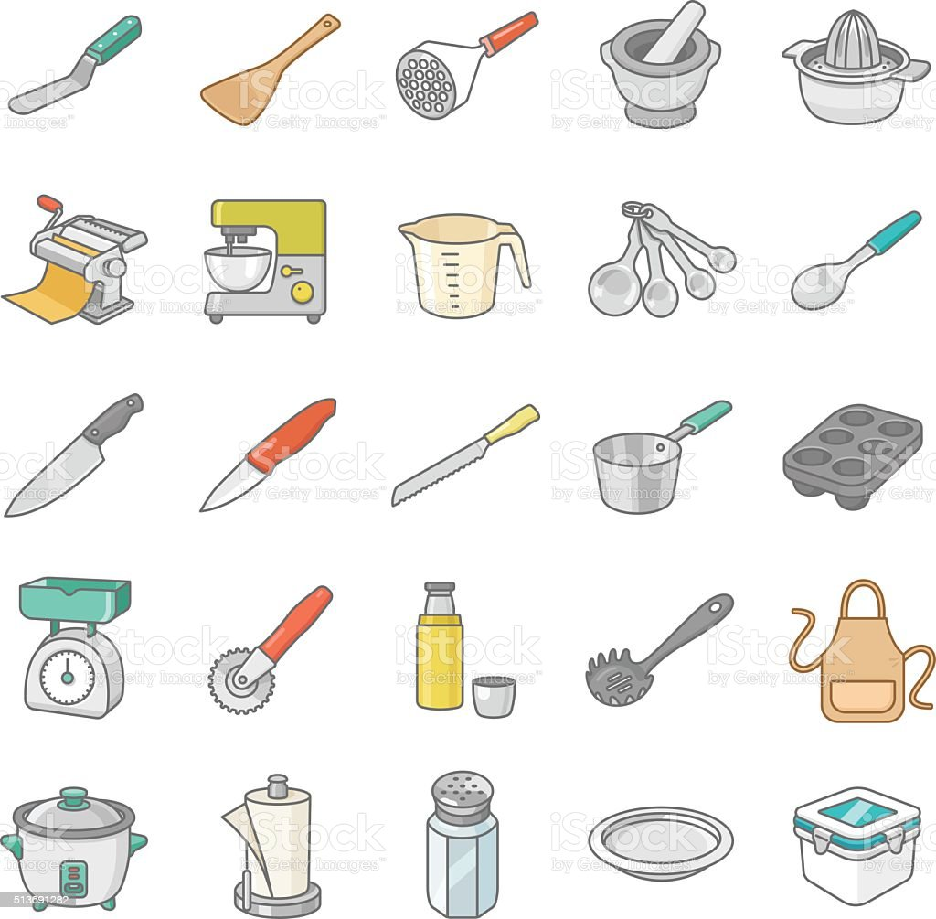 Kitchenware II color vector icons vector art illustration