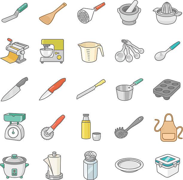 Kitchenware II color vector icons Kitchenware II color vector icons measuring cup stock illustrations