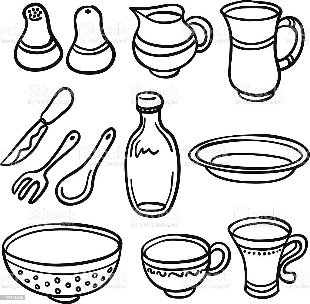 Kitchenware in black and white vector art illustration