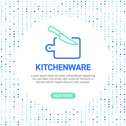 Kitchenware Line Icons. Simple Outline Icons with Pattern