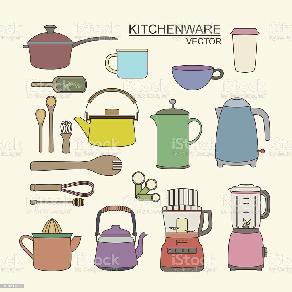Kitchenware modern collection vector art illustration