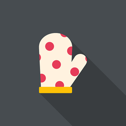 kitchenware oven mitt flat icon with long shadow
