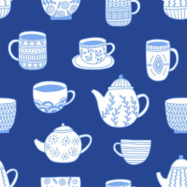 Kitchenware Pattern Simple elegant kitchenware seamless pattern in modern hand drawn design on dark blue background. Ceramics, mugs, cups, bowls. Craft concept for kitchen textile, design elements, print. kitchenware department stock illustrations