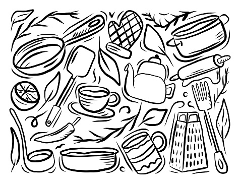 Kitchenware Related Cartoon Doodle Illustration. Hand Drawn Vector
